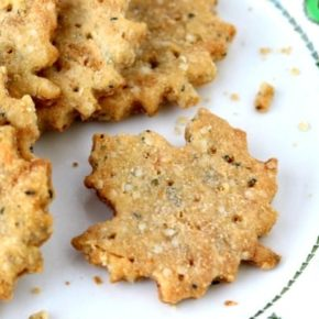 Buttery homemade cracker recipe has just 0.7 net carbs. SO quick and easy! From lowcarb-ology.com