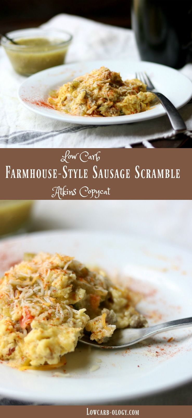 Easy breakfast sausage scramble is a yummy low carb breakfast idea! This recipe is a copycat of the Atkins Farmhouse-style scramble frozen meal... SO good! From Lowcarb-ology.com
