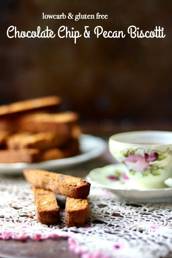 This easy low carb biscotti recipe is gluten free and sugar free. Unsweetened chocolate chips and toasted pecans give it flavor. From Lowcarb-ology.com