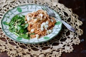 Creamy Salsa Chicken Zoodles Recipe: Low Carb Tex-Mex