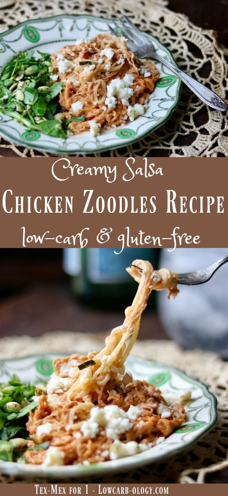 Low carb creamy chicken zoodles recipe has lots of Tex-Mex flavor. SO easy! Perfect for meal prep, too! from lowcarb-ology.com