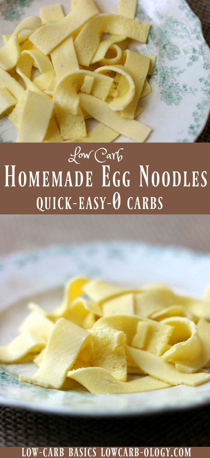 Easy low carb egg noodles - homemade pasta with 0 carbs that you can make in less than 10 minutes. Love this stuff! From Lowcarb-ology.com
