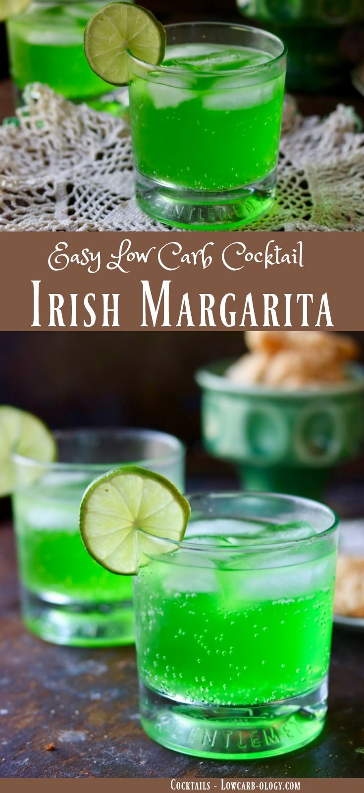 Easy, low carb margarita recipe has 0 carbs. It's the perfect green cocktail for St Patrick's day or anytime you want a refreshing tequila based drink. From Lowcarb-ology.com