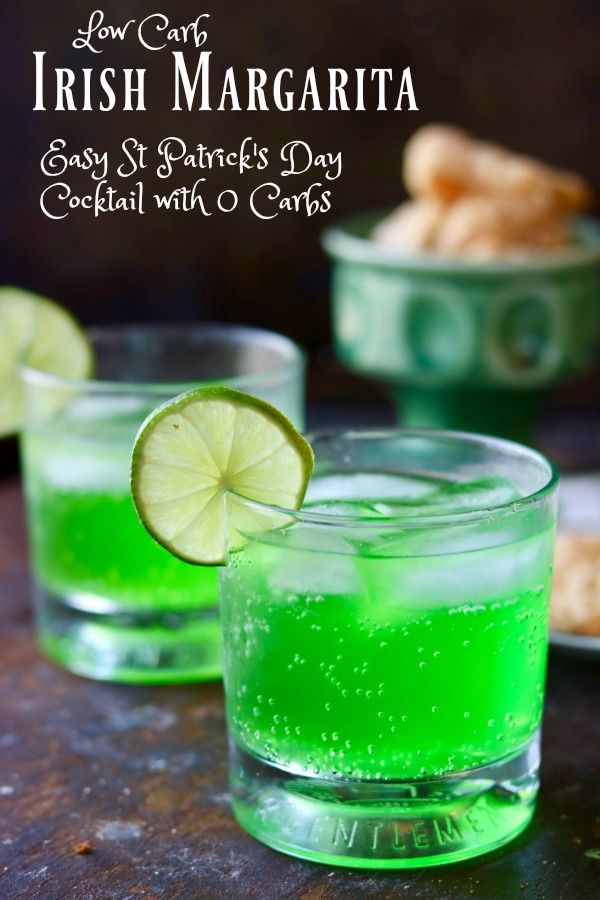 Easy low carb margarita recipe is bright green and perfect for St Patrick's Day! From Lowcarb-ology.com