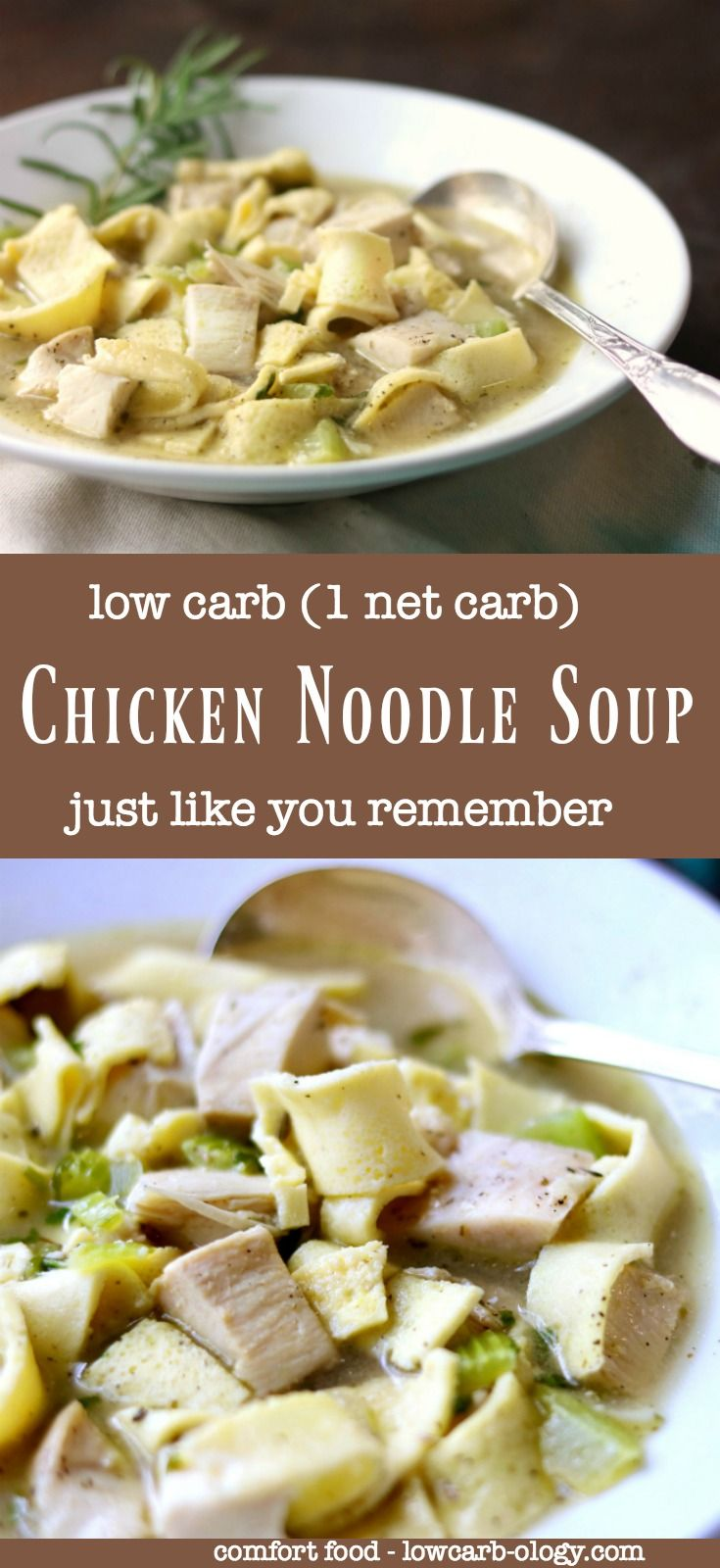 Low carb chicken noodle soup recipe has even got homemade egg noodles.With just 1 net carb per serving you can have this comfort food as often as you'd like. From Lowcarb-ology.com