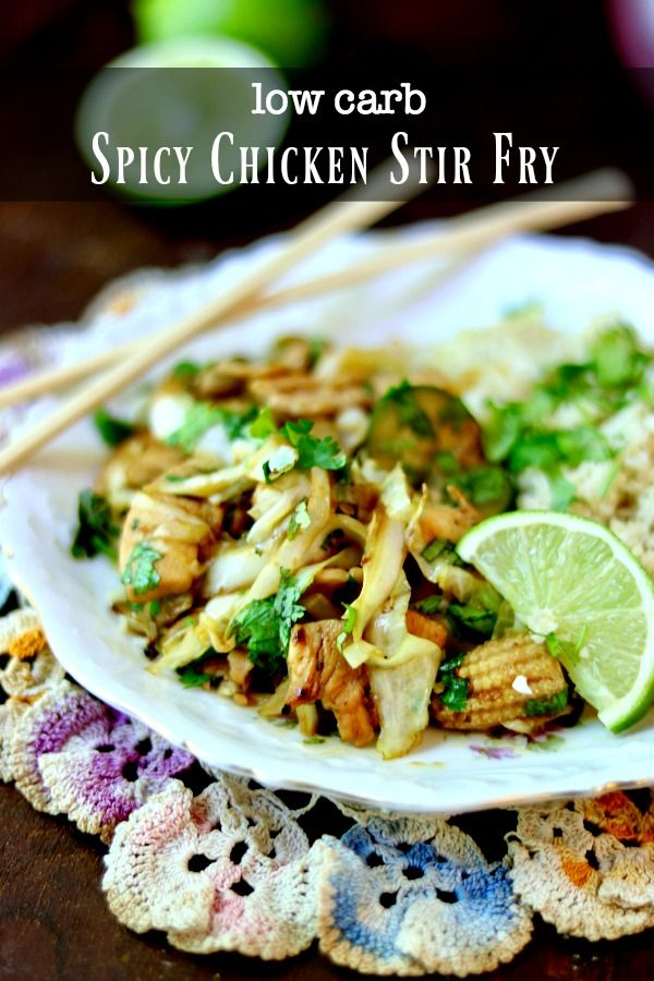 Quick and easy spicy chicken stir fry is low carb and high flavor! From Lowcarb-ology.com