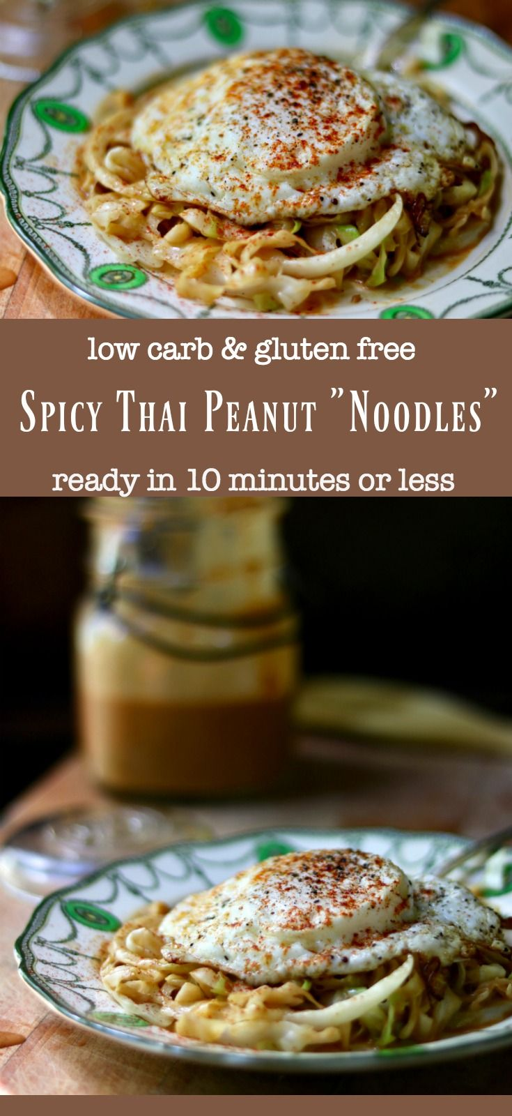 Easy, low carb Thai peanut noodles are ready in 10 minutes - keto friendly recipe that tastes amazing! SO addictive. From Lowcarb-ology.com
