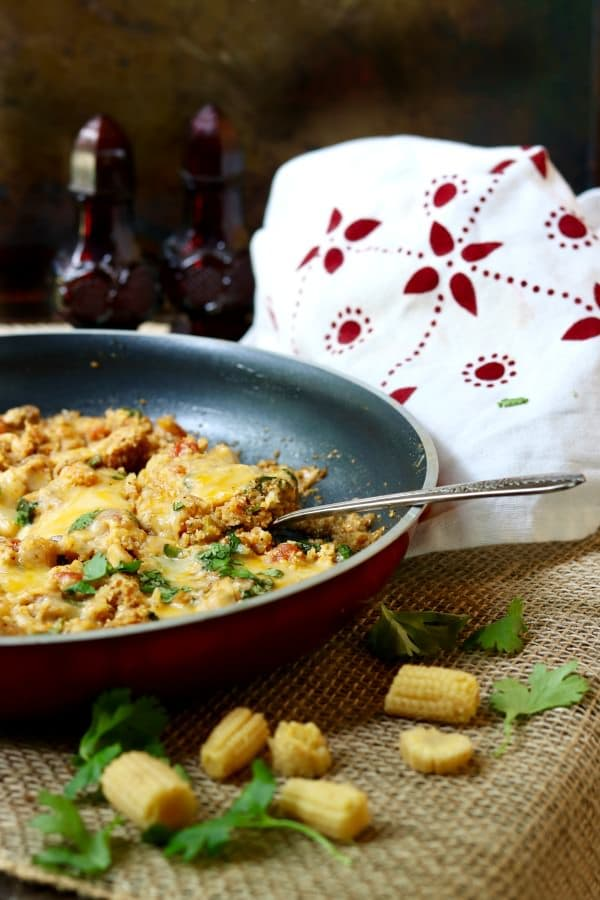Chicken enchilada skillet dinner goes together in less than 15 minutes. From Lowcarb-ology.com