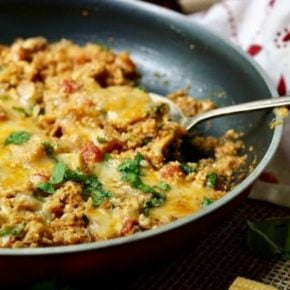 Quick and easy low carb chicken enchilada skillet dinner recipe has just 7 net carbs per serving and it's great for the whole family. Lowcarb-ology.com