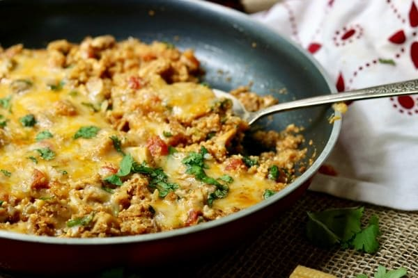 Quick And Easy Low Carb Chicken Enchilada Skillet Dinner Recipe Has Just 7 Net Carbs Per