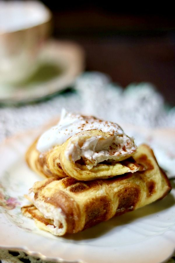 Quick low carb brunch dish! Bavarian cream stuffed waffles recipe - so good! from Lowcarb-ology.com