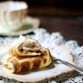 Bavarian cream stuffed waffles are low carb and gluten free. From Lowcarb-ology.com