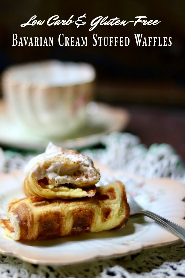 Low carb, gluten free stuffed waffles recipe is filled with decadent Bavarian cream. From Lowcarb-ology.com