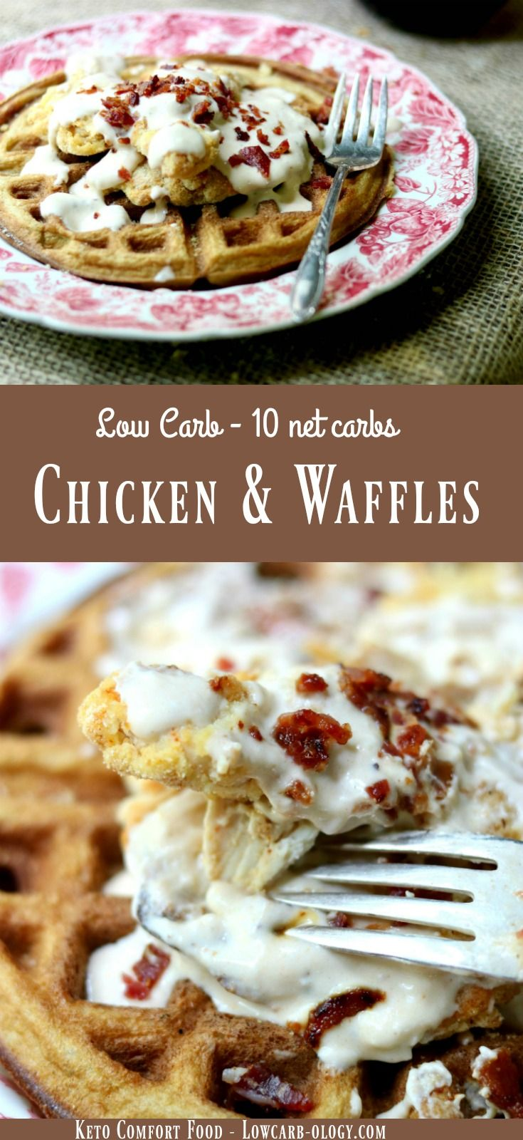 Low carb chicken and waffles recipe is a can't-stop-eating-it dance of spicy, creamy, sweet, salty, crispy, tender goodness. Just 10 net carbs per serving. From Lowcarb-ology.com