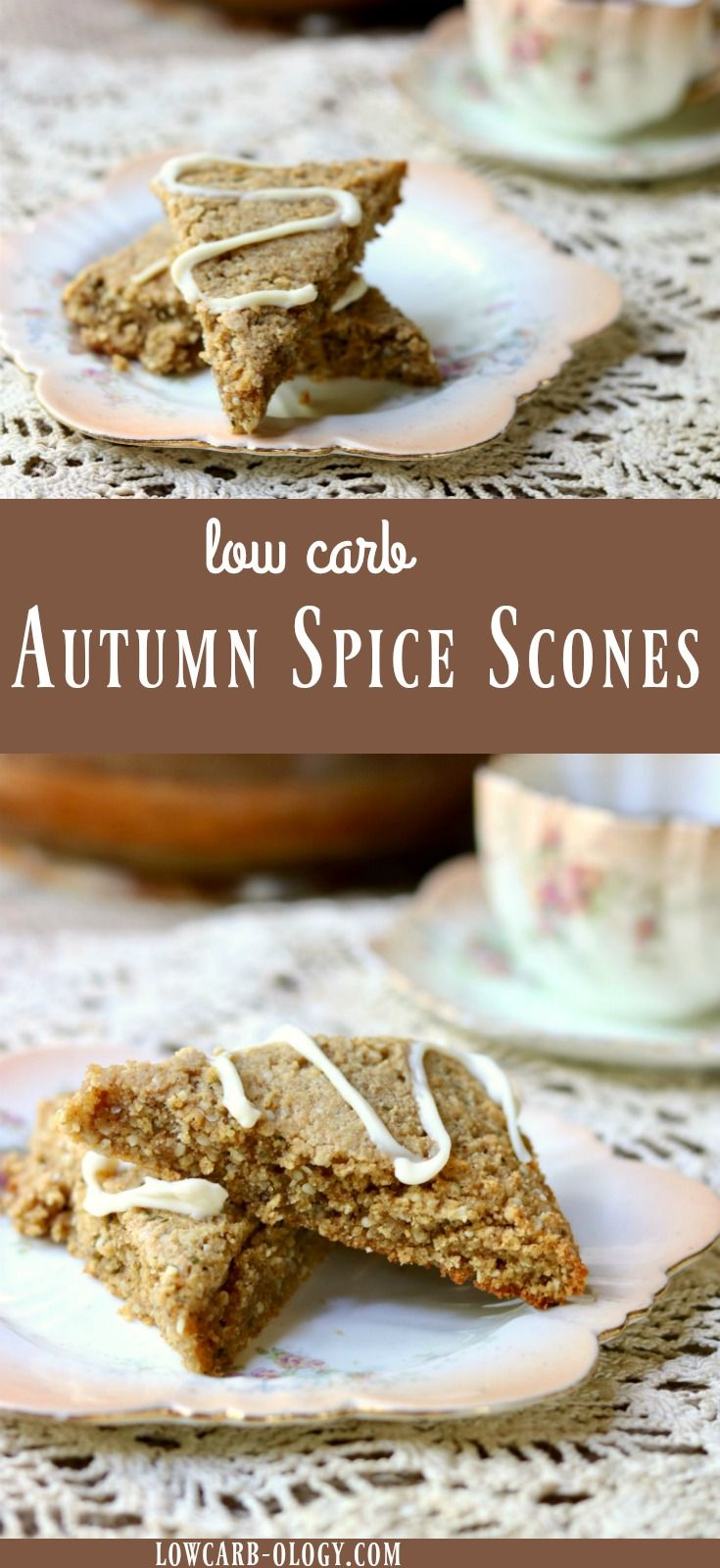 Welcome fall with these low carb Autumn Spice Scones topped with a toffee cream cheese glaze. Buttery and crumbly, these sweet treats are just as good with breakfast coffee as they are with afternoon tea. With just 3 net carbs, you'll want to have a batch of these in the freezer all season long. From RestlessChipotle.com