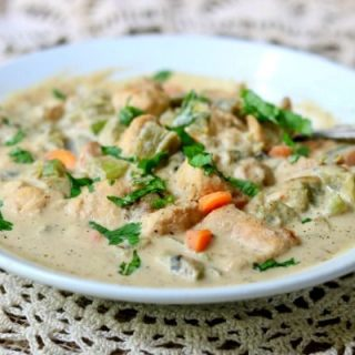 Chicken pot pie soup recipe is creamy low carb comfort food that will warm your soul anytime of the year! Keto friendly, Atkins friendly, just 7 net carbs. Cozy autumn menu including wine suggestions, too! From Lowcarb-ology.com