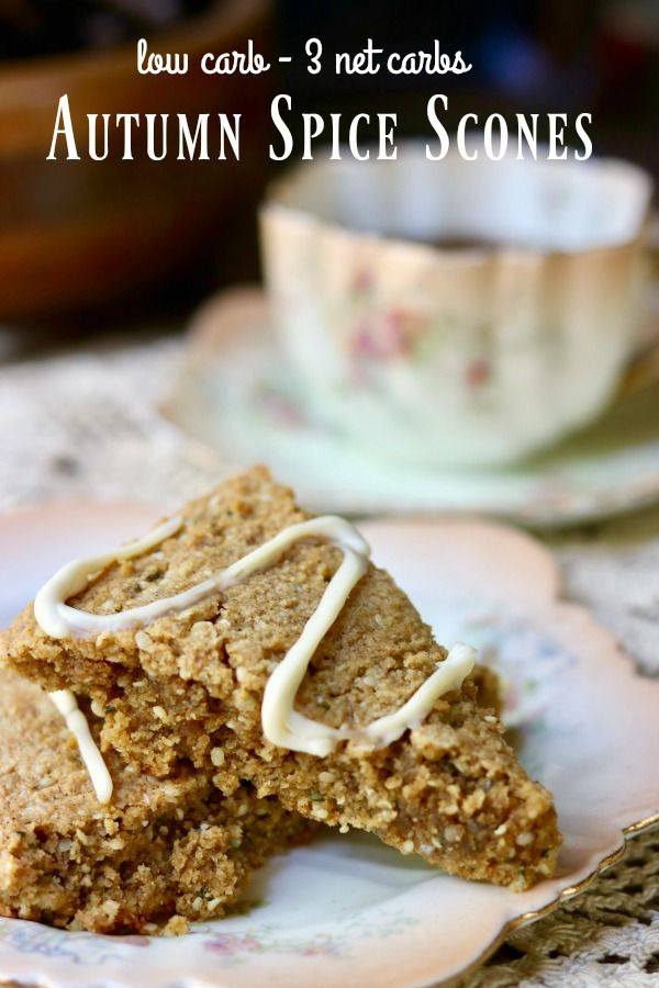 These low carb Autumn Spice Scones topped with a toffee cream cheese glazeare SO GOOD. Buttery and crumbly, these sweet treats are just as good with breakfast coffee as they are with afternoon tea. With just 3 net carbs, you'll want to have a batch of these in the freezer all season long. From RestlessChipotle.com