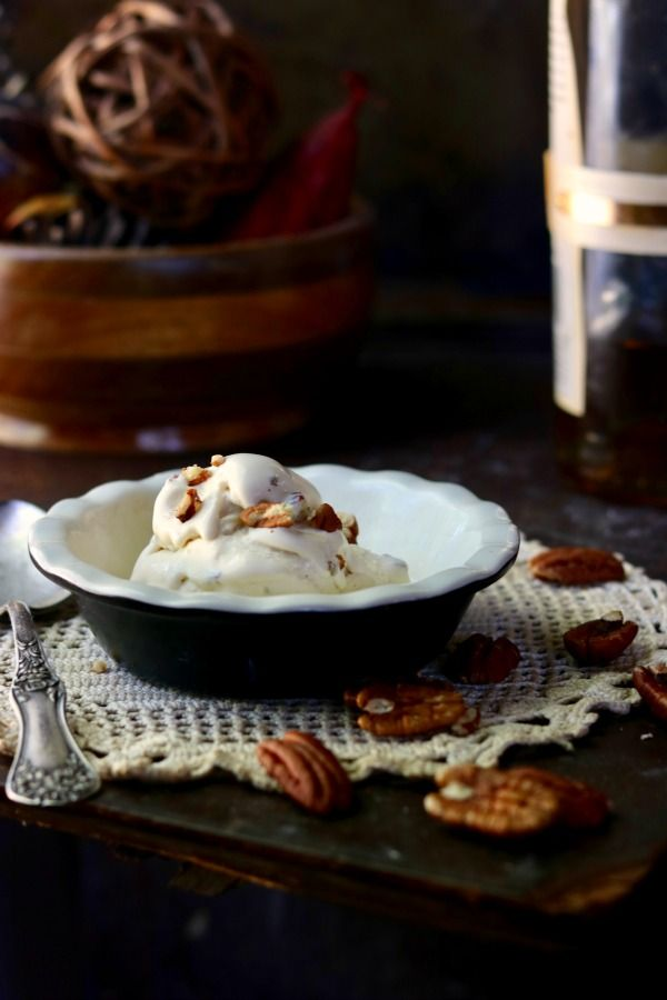 Easy low carb ice cream is sugar-free goodness anytime of the year but this Brown Butter Bourbon Pecan ice cream recipe has all the flavors of fall. Lowcarb-ology.com