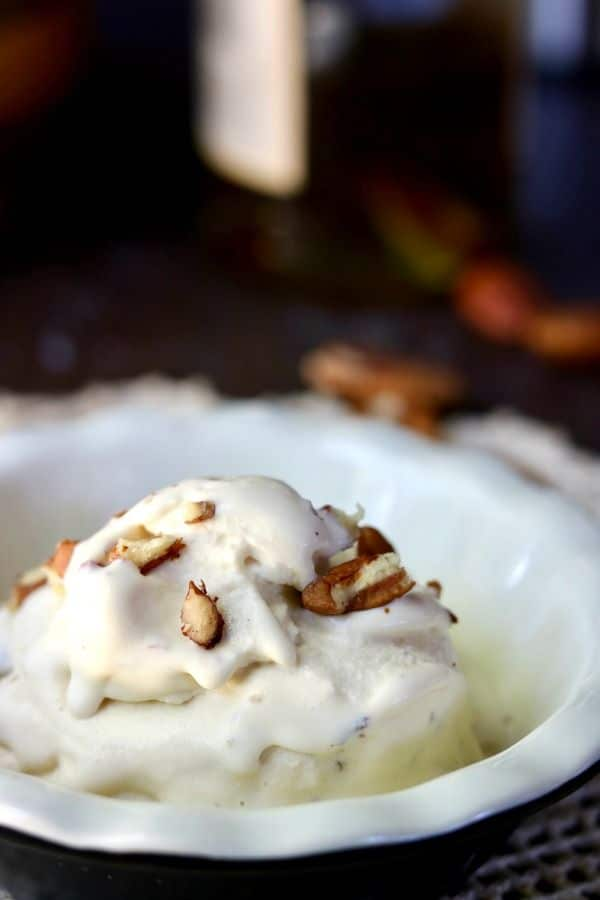 Sugar free low carb ice cream is so good! You'll love this Brown Butter Bourbon Pecan ice cream recipe with all the flavors of fall. Creamy and decadently satisfying! lowcarb-ology.com