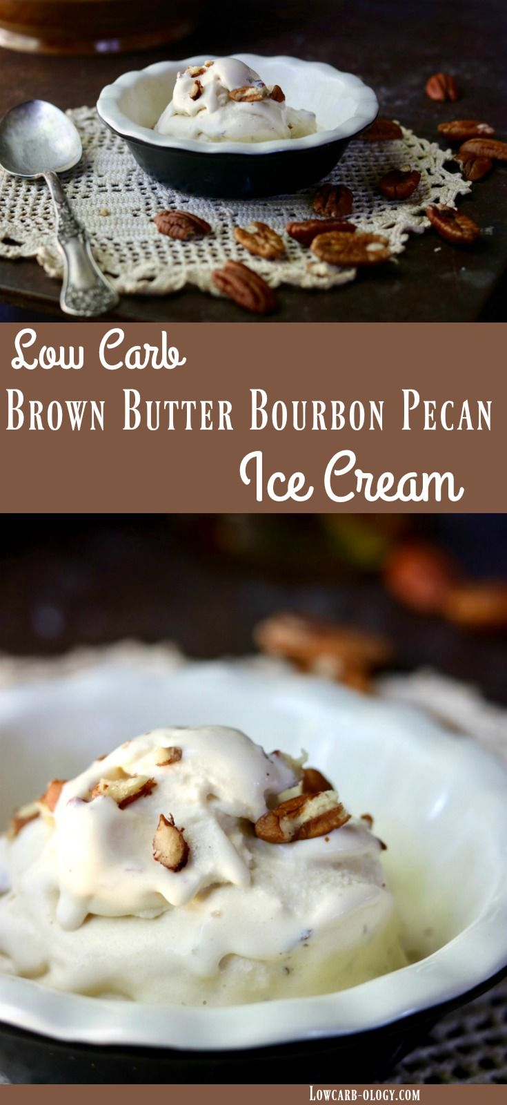 Low carb ice cream is sugar-free goodness anytime of the year but this Brown Butter Bourbon Pecan ice cream recipe has all the flavors of fall. Creamy and decadently satisfying, it's a low carb treat that is a delicious way to end any meal. It's super easy to make, too! From lowcarb-ology.com