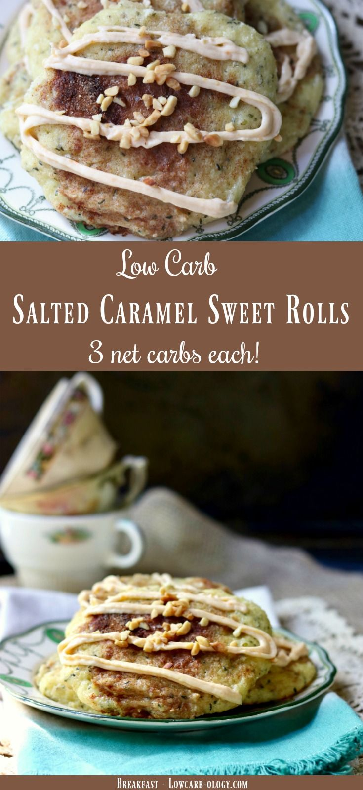 Salted caramel sweet rolls are a low carb treat for breakfast or brunch. Sweet, chewy dough, a cream cheese filling and a creamy salted caramel glaze  makes this recipe extra special. Just 3 net carbs! From Lowcarb-ology.com