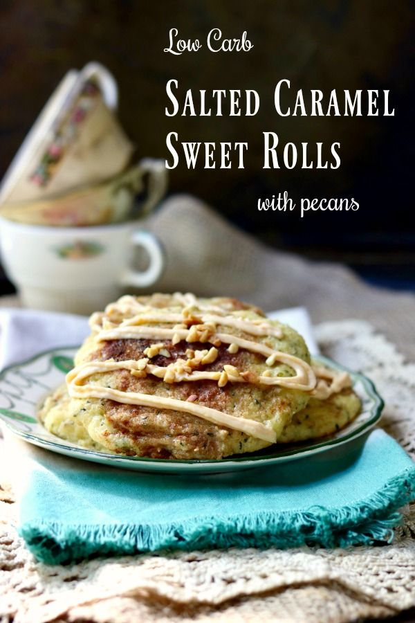 Easy, gluten free salted caramel sweet rolls have just 3 net carbs each! Chewy, sweet dough surrounds a rich cheesecake center and is covered with a salted caramel glaze and sprinkled with pecans! Lowcarb goodness! From Lowcarb-ology..com