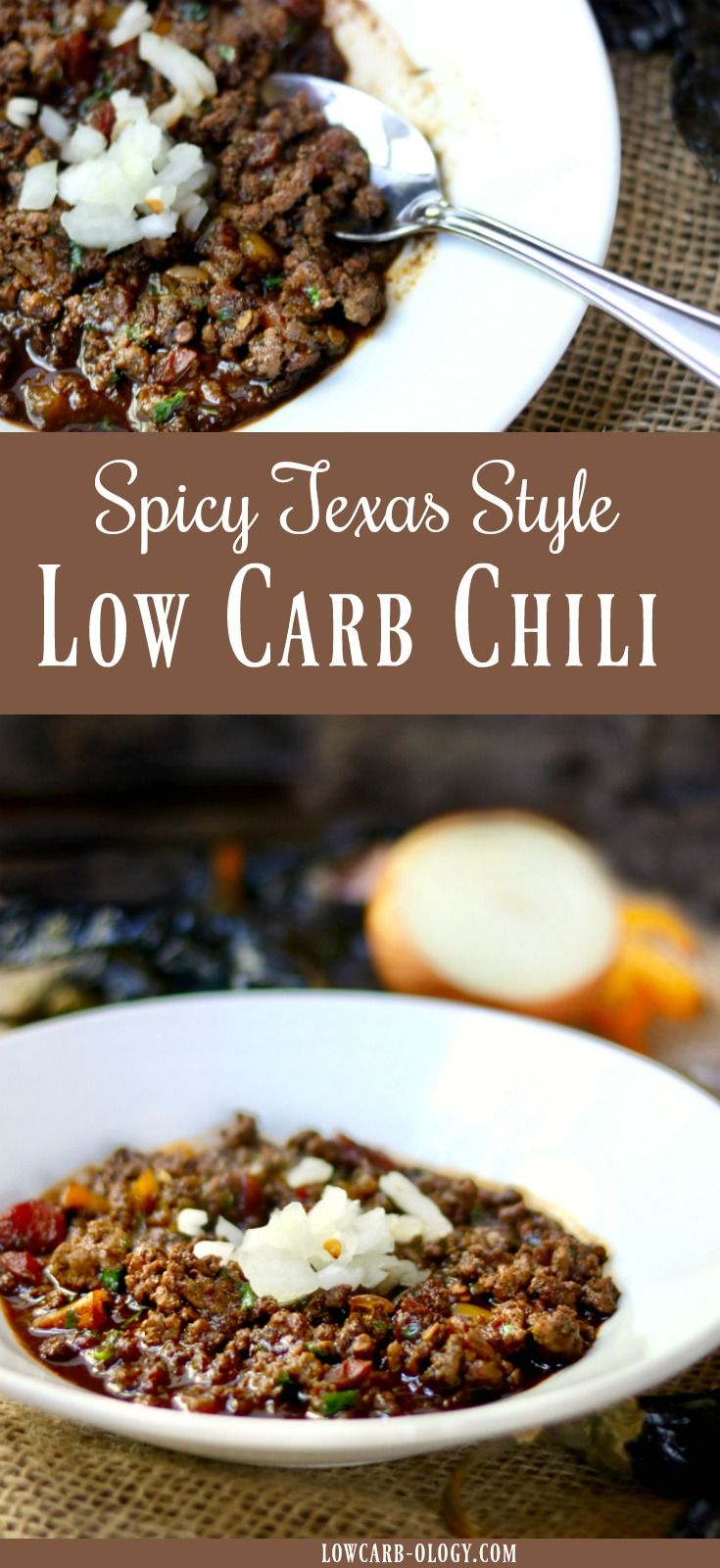 This low carb chili recipe is based on my favorite Texas chili. Meaty and rich with plenty of spice from two kinds of chile peppers and homemade chile powder. Just 3 net carbs! #lowcarb #Chili