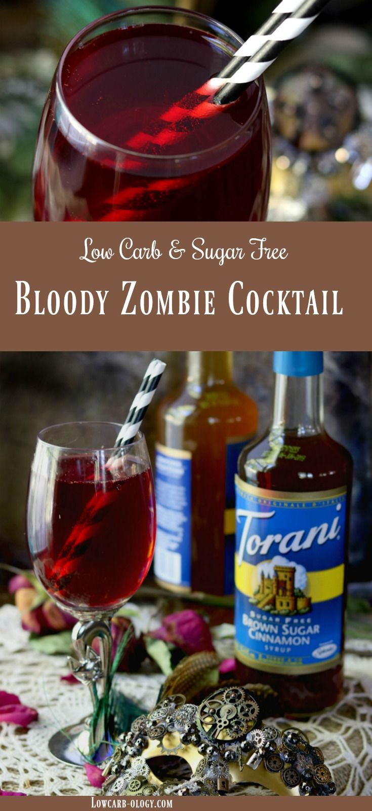 Bloody Zombie Cocktail recipe is low carb and sugar free. Sweet, spicy, and full of rum --  just like the original Zombie cocktail. The difference? This adult beverage helps keep you on your keto friendly diet. #AToraniHalloween