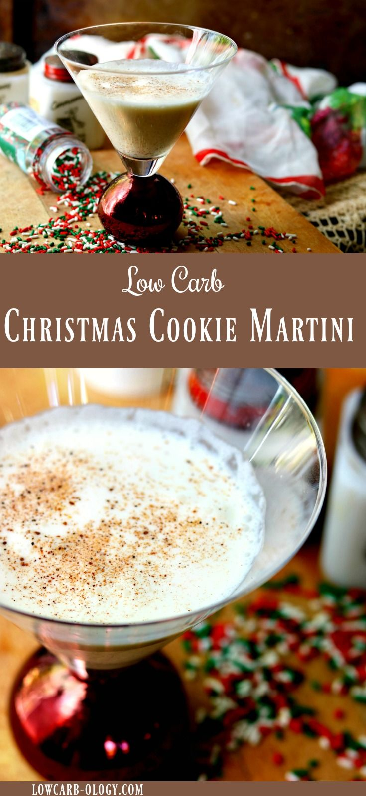 Welcome the holidays with this creamy, low carb, Christmas Cookie Martini recipe. It's just one carb and so easy to make! You'll have a gorgeous, signature holiday cocktail without going over your carb allotment. #lowcarb #cocktail #holidays