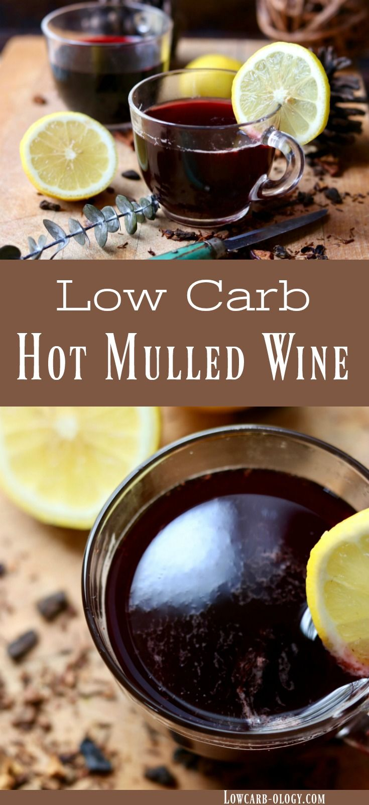 Hot mulled wine recipe is an easy, low carb holiday punch you can put together quickly or simmer in a slow cooker. Just 1 net carb - great winter cocktail. perfect for holiday sipping. #lowcarb #holidays #cocktails #punch from lowcarb-ology.com