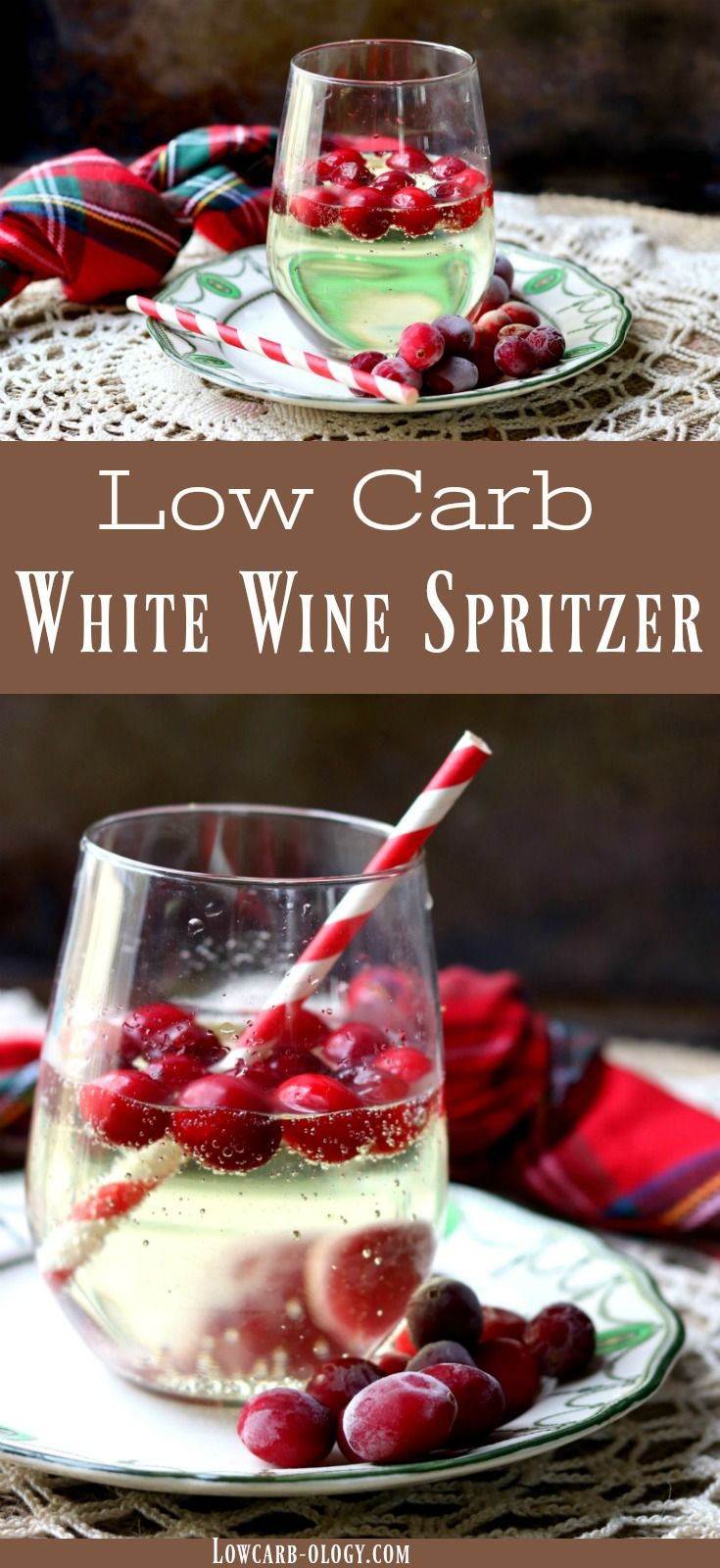 Low Carb white wine spritzer with pineapple vodka is low carb - perfect for holiday celebrations. Light and sparkly, this refreshing cocktail has just 2 carbs for 8 ounces. From Lowcarb-ology.com #lowcarb #cocktails #wine #holidaycocktails