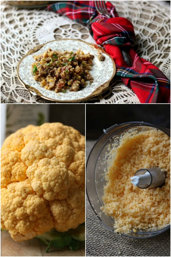 "A collage of bright orange cauliflower head, ""riced"" cauliflower, and the finished low carb stuffing."