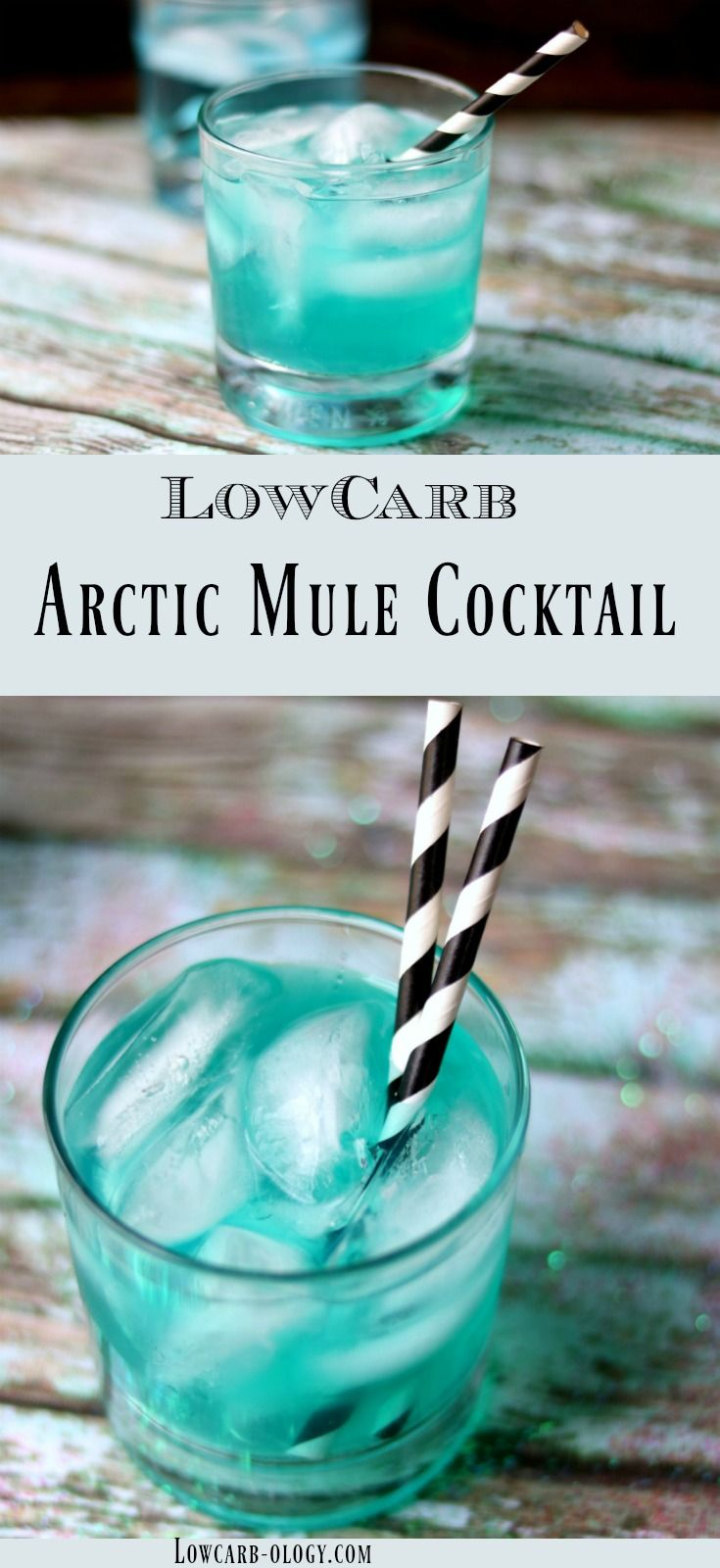 Low carb vodka cocktail recipe that's perfect for winter! This Arctic Mule is exactly what you're looking for! Icy cold vodka is blended with sugar free peppermint syrup so each sip feels like you're breathing the icy arctic air! The blue color just adds to the charm of this delicious Moscow Mule variation with 0 carbs from Lowcarb-ology.com #lowcarb #lowcarbcocktailrecipes #vodkacocktails