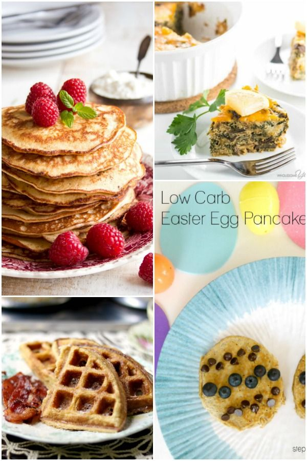 Collage of low carb Easter recipes for brunch