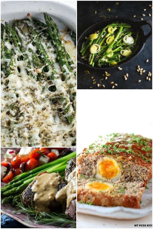 Collage of low carb Easter recipes for dinner and side dishes