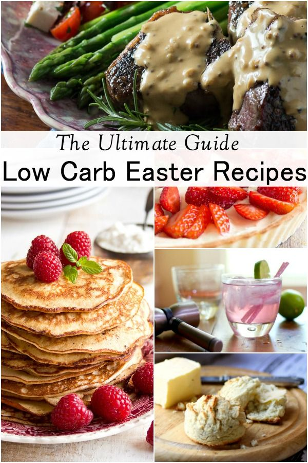 collage of easter foods for title image to low carb easter recipes