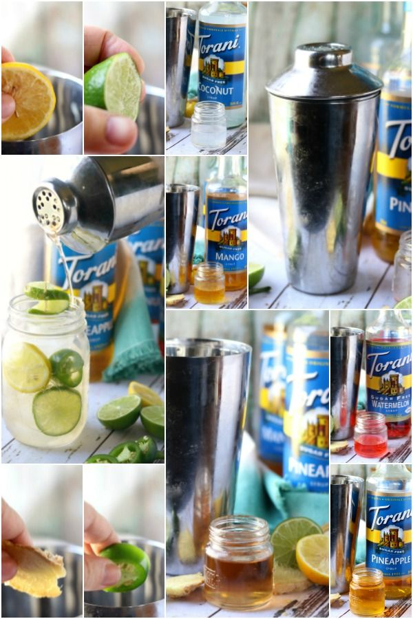 Images of the steps to mixing a Planter's Punch Cocktail