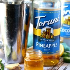 Add the Torani Sugar Free Syrups to the shaker with the rum