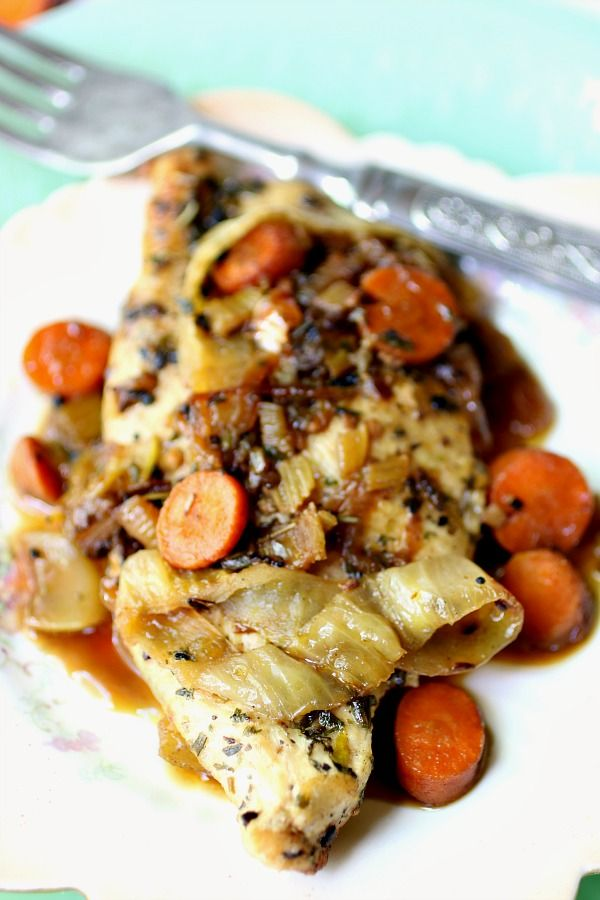 Close up of low carb French chicken recipe with carrots and onions mounded on top