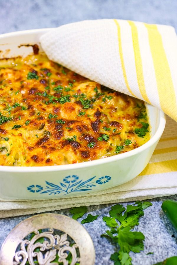 Baked chicken tetrazzini with a crispy, golden cheese crust on the top