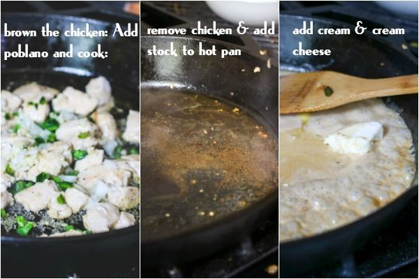 images of browning chicken in a skillet, removing it then adding stock, then finally adding the cream.
