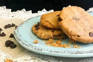 Closeup of a stack of peanut butter chocolate cookies on a plate