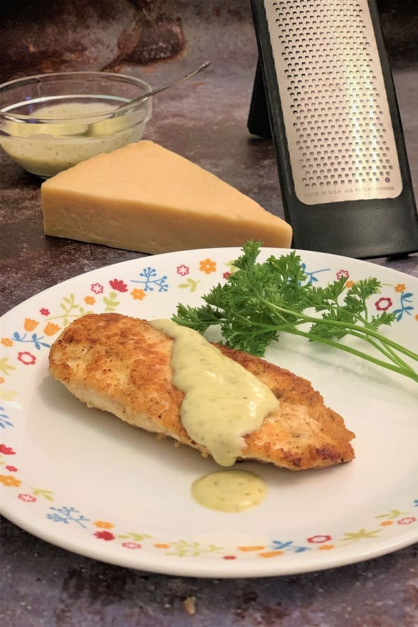 Easy parm chicken using real parmesan cheese and no breadcrumbs.
