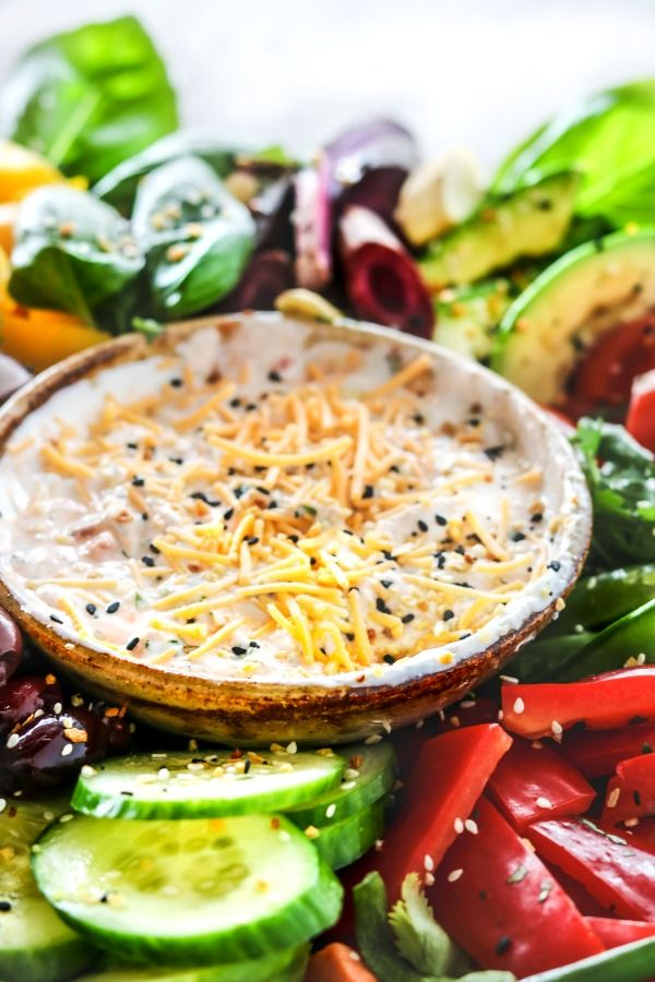 Close up of a Bowl of Creamy Dip on a Crudite Platter.